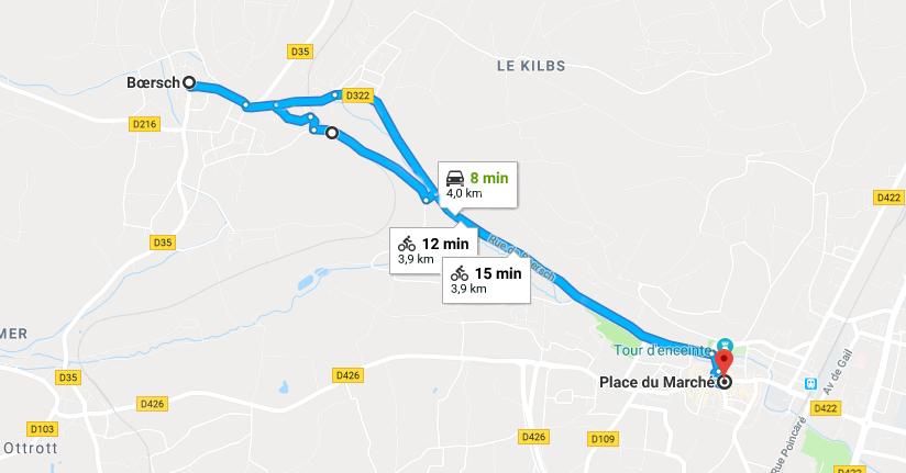 trajet à vélo obernai boersch
